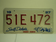 1987 SOUTH DAKOTA Centennial 1889 1989 License Plate 51E 472 1