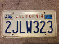 April 1993 California License Plate 2JLW323