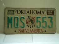 2009 OKLAHOMA Native America License Plate MQS 553