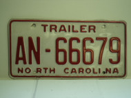 NORTH CAROLINA Trailer License Plate AN 66679
