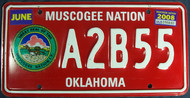 2008 Jun Oklahoma Muscogee Nation License Plate
