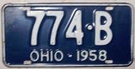 1958 Ohio 774-B License Plate