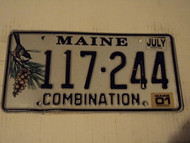 2001 MAINE Combination License Plate 117 244