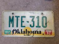 1992 Mar Oklahoma MTE-310 License Plate