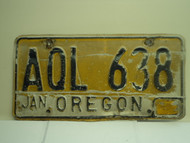 OREGON License Plate AQL 638