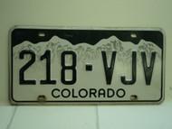 COLORADO License Plate 218 VJV