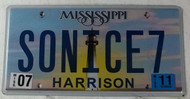 2011 July Mississippi Vanity License Plate SONICE7