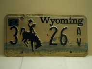 1998 Wyoming License Plate 3 26 AV