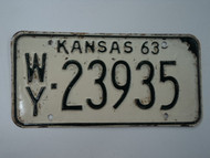 1963 KANSAS License Plate WY 23935