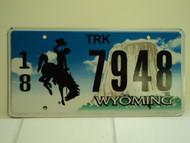 WYOMING Bucking Bronco Devils Tower Truck License Plate 18 7948