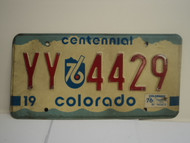 1976 COLORADO Centennial License Plate YY 4429