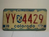 1976 COLORADO Centennial License Plate YY 4429