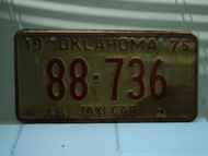 1975 OKLAHOMA Taxi Cab License Plate 88 736