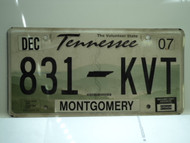 2007 TENNESSEE Volunteer State License Plate 831 KVT