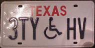 Texas 3TYHV Wheelchair Handicapped License Plate
