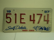 1987 SOUTH DAKOTA Centennial 1889 1989 License Plate 51E 474