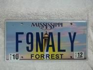 2012 Mississippi Vanity F9NALY License Plate