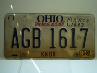 1999 OHIO Heart of it all License Plate AGB 1617