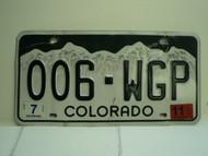 2011 COLORADO License Plate 006 WGP