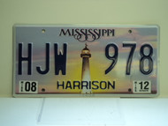 2012 MISSISSIPPI Lighthouse License Plate HJW 978