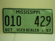 1997 MISSISSIPPI Used Auto Dealer License Plate 010 429