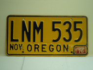 1976 OREGON License Plate LNM 535