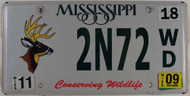 2009 Mississippi Wildlife License Plate 2N72 WD