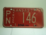 1971 KANSAS Farm Truck 20M License Plate