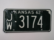 1962 KANSAS License Plate JW 3174