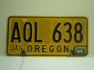 1998 OREGON License Plate AQL 638