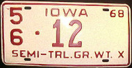 1968 Iowa 56 Lee Co Semi Trailer License Plate