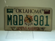 2001 OKLAHOMA Native America License Plate MQB 981