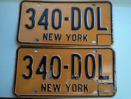 PAIR NEW YORK License Plates 340 DOL