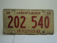 1968 ILLINOIS Land of Lincoln TRUCK 18 License Plate 202 540 1