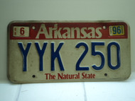1996 ARKANSAS Natural State License Plate YYK 250
