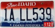 Idaho 1A LL539 License Plate Famous Potatoes