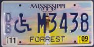 2009 Nov Mississippi DB M3438 License Plate