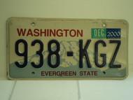2000 WASHINGTON Evergreen State License Plate 938 KGZ