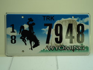 WYOMING Bucking Bronco Devils Tower Truck License Plate 18 7948 1