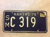1976 1977 Smith Co Kansas SM C 319 License Plate