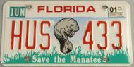 2001 Florida Save the Manatee License Plate HUS433