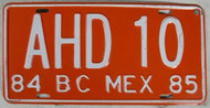1984 1985 BC Mexico AHD 10 License Plate