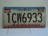 1998 ALABAMA Heart of Dixie License Plate 1CW6933