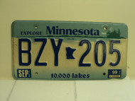 1999 MINNESOTA Explore 10,000 Lakes License Plate BZY 205