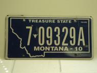 2010 MONTANA Treasure State License Plate 7 09329A