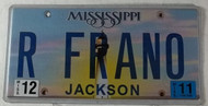 2011 Dec Mississippi Vanity License Plate R FRANO