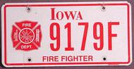 Iowa Firefighter Flat License Plate