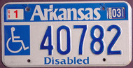 Arkansas Wheelchair 2003 License Plate 2