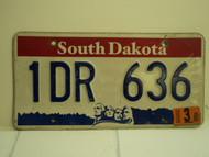 2003 SOUTH DAKOTA Mount Rushmore License Plate 1DR 636
