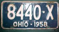 1958 Ohio 8440 X License Plate